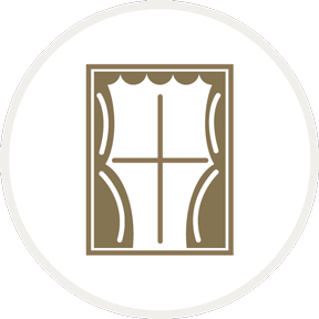 icon of a window with curtains opening